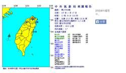 北台灣震動! 13:59北投規模5.7有感地震