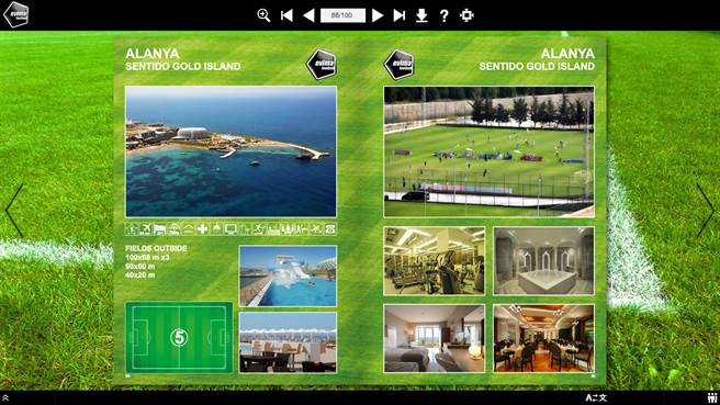 艾維馬足球在其官網上介紹阿蘭亞據點的住宿與訓練條件,包括能提供的球場數目。(官網翻攝)
