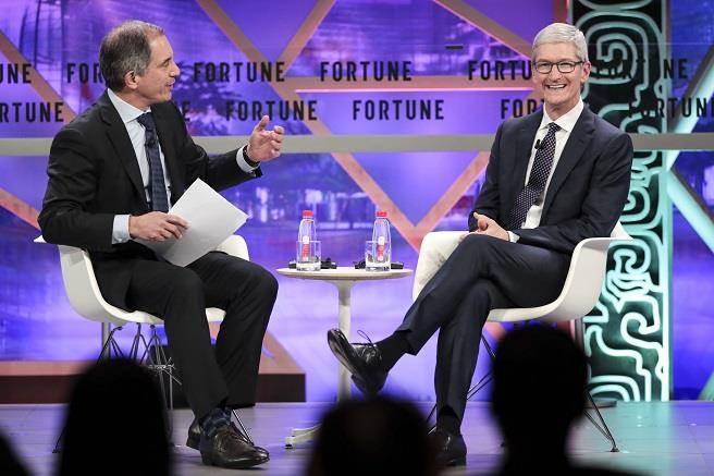 蘋果執行長庫克(右)表示,會限制姪子使用科技產品情況。(中新社資料照)