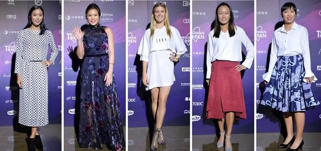 詹皓晴(左起)、莊佳容、布夏、張凱貞、李亞軒盛裝出席WTA台灣賽的歡迎晚宴。(WTA台灣賽提供)