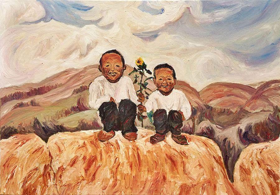 台灣畫家廖哲琳筆下的陝北農村