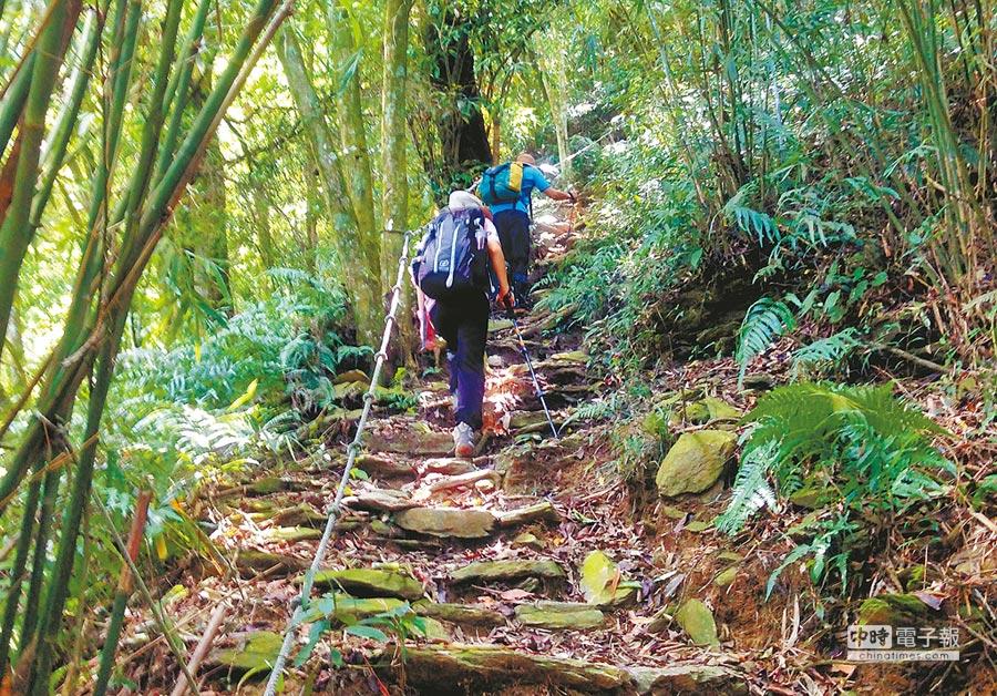 尾寮山後段需攀繩而上,考驗登山客體力及耐力。(林和生攝)
