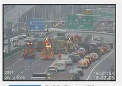 國道2西向1.5K貨櫃車側翻事故 進機場提前改道