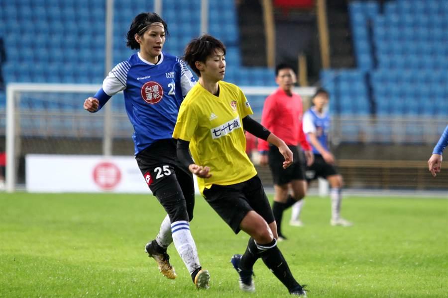 余秀菁(左)在中超女足聯賽磨練1年,球技和對抗性都有成長,榮膺台灣運彩盃地主最佳球員。(台灣足球發展協會提供)