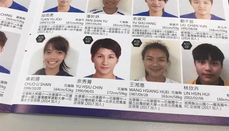 余秀菁在秩序冊上的照片,讓日本女記者看了直說好漂亮。(李弘斌攝)