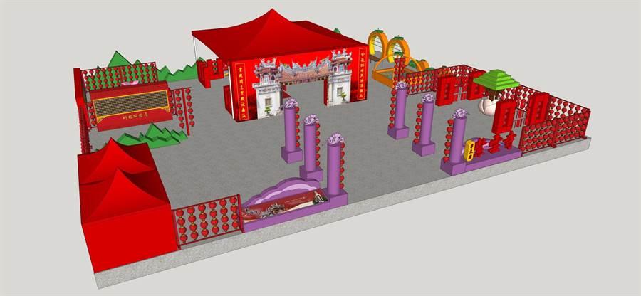 :紫雲寺燈區製作多項互動式裝置,讓遊客除了賞花燈以外更能夠與花燈互動,深入體驗紫雲寺的文化與歷史。(吳家詮翻攝)