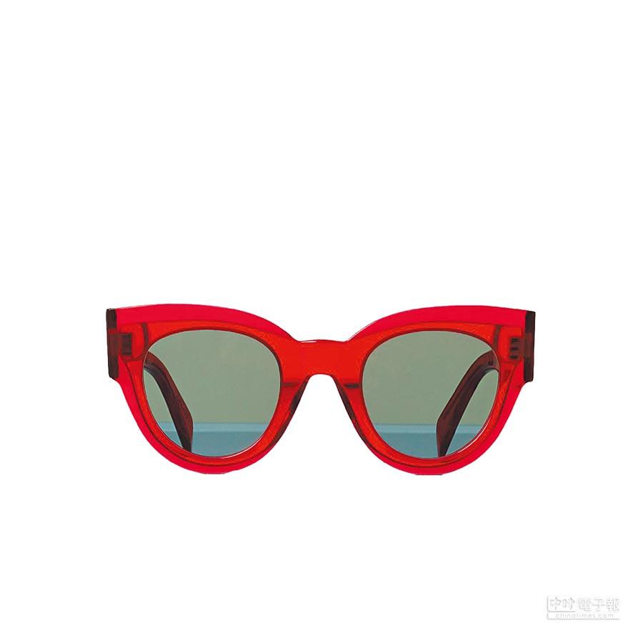 CELINE BI-LAYER紅色膠框太陽眼鏡,1萬3350元。(CELINE提供)