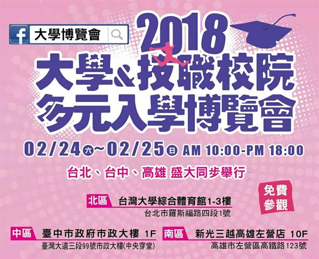 2018大學暨技職校院多元入學博覽會,2/24-2/25日北中高同步舉行。(大學博覽會執委會提供)
