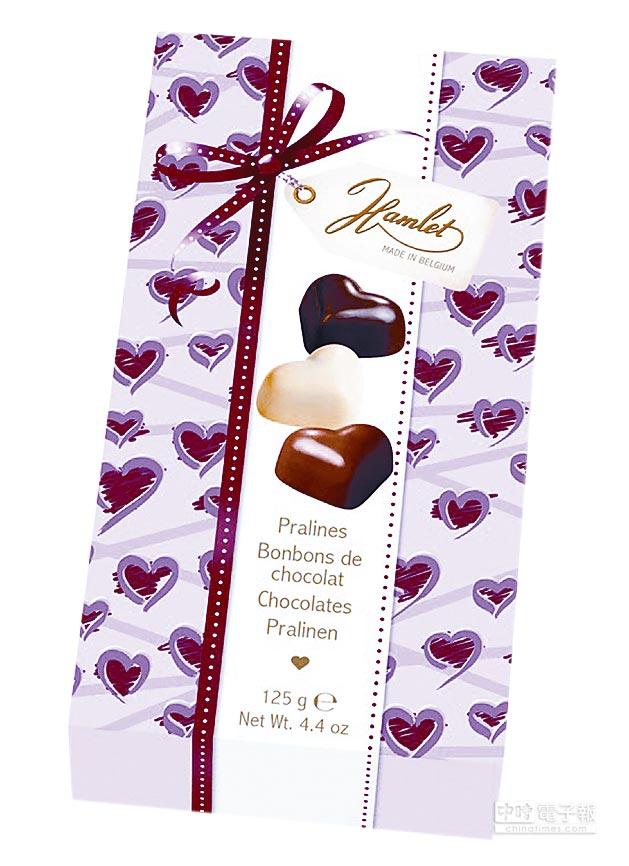 7-11獨家告白首選,比利時Hamlet愛心巧克力,199元。2月14日前指定品項任選2件75折優惠。(7-11提供)