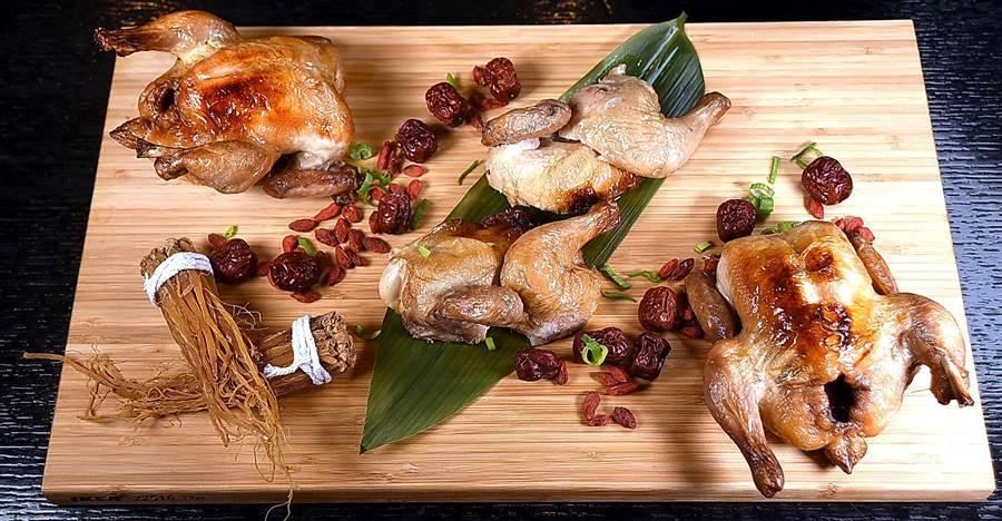 〈酒香焗春雞〉是將小春雞用陳紹與中式辛香料醃漬後,再以法式爐烤作出,風味與口感甚佳。(圖/姚舜攝)
