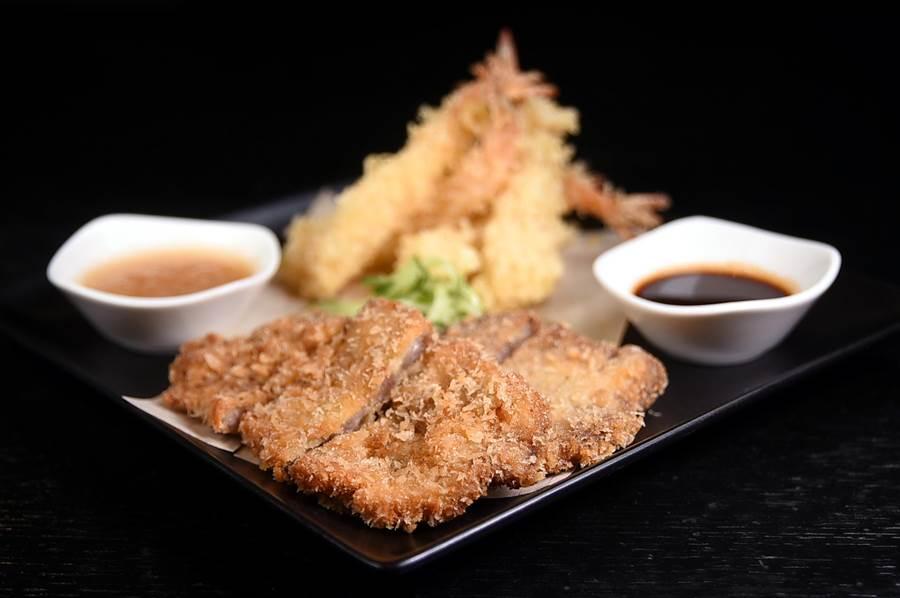 日式炸區除有〈炸蝦天婦羅〉與〈酥炸海鮮餅〉,並有用伊比利豬肉裹麵衣酥炸的〈日式炸豬排〉。(圖/姚舜攝)
