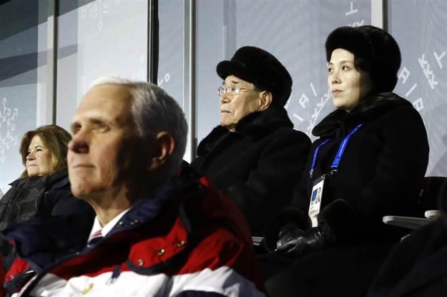 北韓領導人金正恩的妹妹金與正(後排右一),與美國副總統彭斯(前)在平昌冬奧開幕典禮上,即使坐在同一包廂,但仍然眼神無交會、也沒有實際互動,透露出兩國外交訊號仍在冰點。(圖/美聯社)