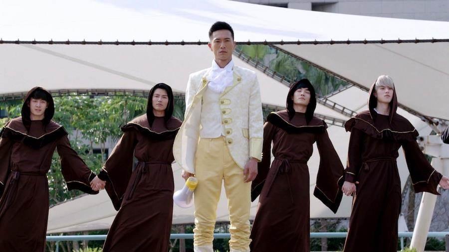 鍾承翰與劇中神影隊的隊員一起Kuso助陣造勢。(三立提供)