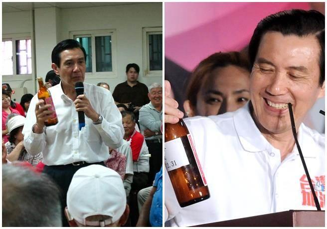 2011年,(右圖)當時馬總統說,對手嘲笑他是「米酒總統」,他欣然接受,並強調關心民眾身邊大小事是他應該做的。(左圖)同年馬與苗栗鄉親座談,仍拿著酒瓶。(本報系資料照片) ★喝酒過量,有礙健康!