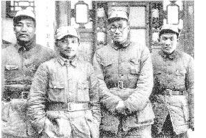 1938年1月鄧小平任八路軍一二九師政委,左起李達、鄧小平、劉伯承、蔡樹藩。(本報系資料照片)
