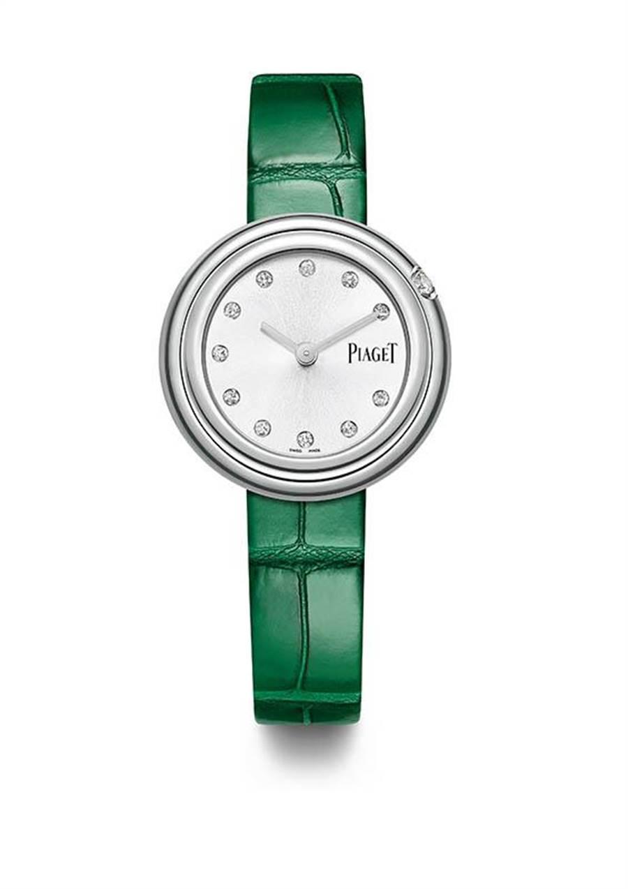 Piaget精鋼款僅鑲時標與單顆鑽,價格117,000元,適合小資女。(圖/Piaget )