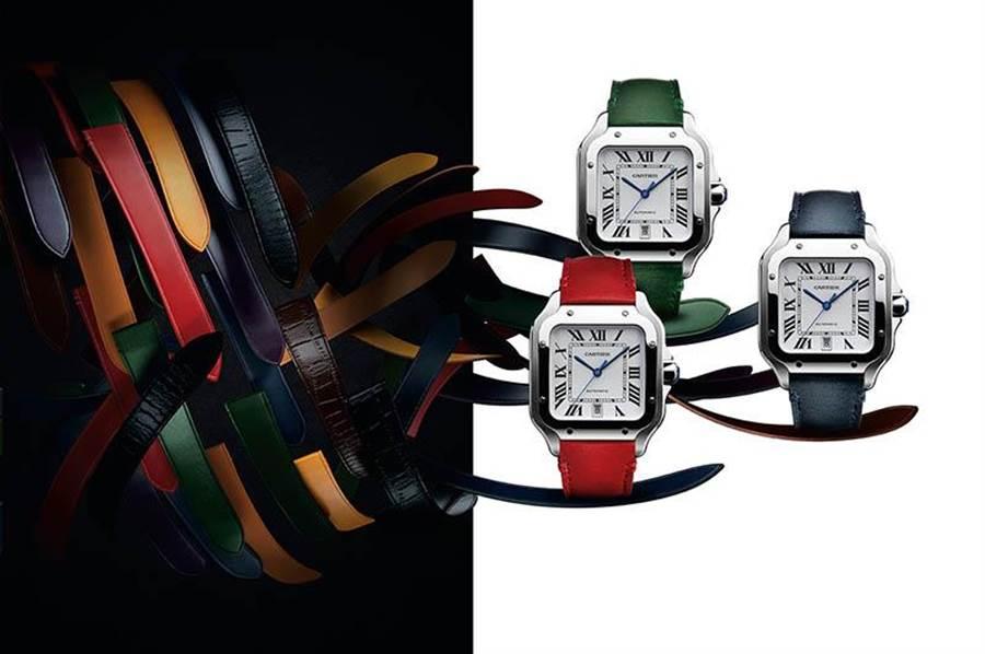 Cartier Santos de Cartier系列搭載全新QuickSwitch技術,兼顧休閒與正裝穿搭。(圖/Cartier )