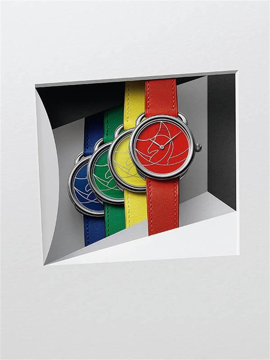 熱愛設計與美學的Hermès,系列腕錶Arceau Casque Duo以不同顏色與花紋為賣點,頗受好評。(圖/Hermès )