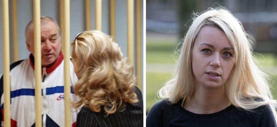 英國間諜謝爾蓋.斯卡里帕爾在受審時的檔案照,背對的女子就是女兒尤莉婭(左),尤莉亞在臉書上的照片(右)。(圖/美聯社)