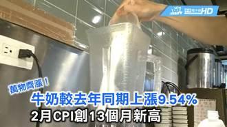 萬物齊漲!牛奶較去年同期上漲9.54% 2月CPI創13個月新高