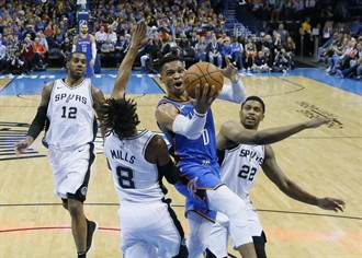 NBA》韋少本季第19次大三元 雷霆修理馬刺