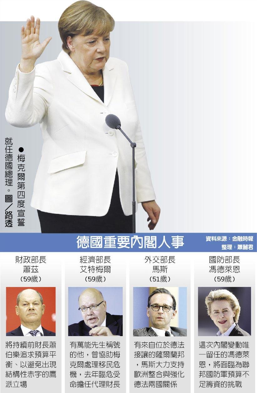梅克爾第四度宣誓 就任德國總理。圖/路透  德國重要內閣人事