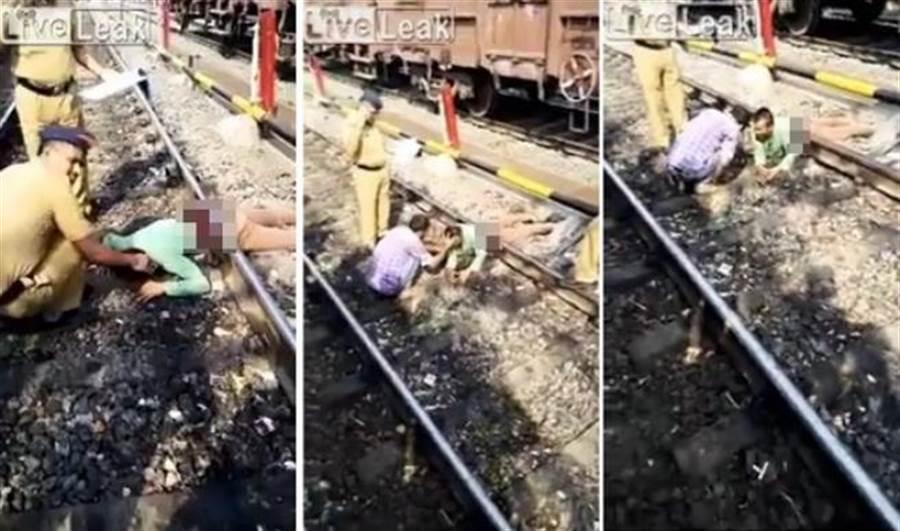 命大!男子失足摔落鐵軌 遭火車輾過「腰斬」竟奇蹟生還(圖/ 翻攝自LiveLeak)