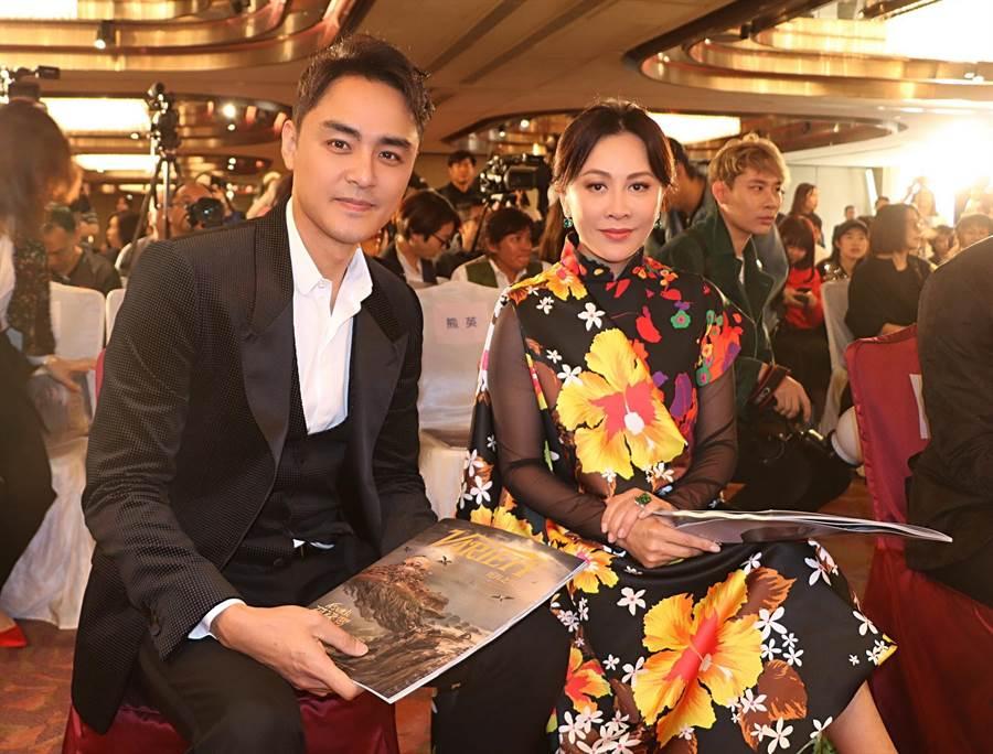 明道(左)與劉嘉玲出席香港電影節。(明道工作室提供)