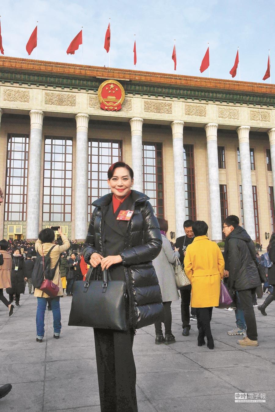 香港區人大代表鄺美雲參加第十三屆全國人大會議。(中新社資料照片)