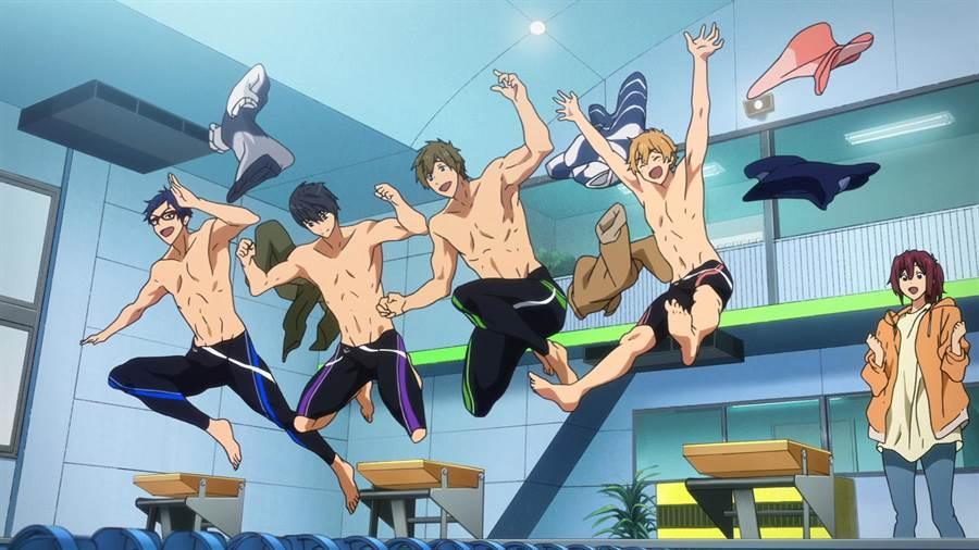 《FREE! 男子游泳部》系列透過少年們對游泳的熱愛,進而傳遞隊友們之間相互磨合、激勵,並共同追求夢想。(采昌國際多媒體提供)