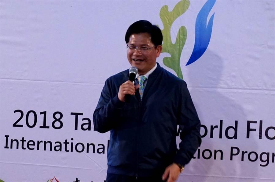 台中市長林佳龍有信心能辦好花博,打響台中在國際舞台的能見度。(王文吉攝)