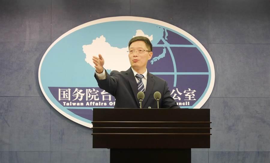 國台辦發言人安峰山28日回答記者提問。(陳君碩攝)