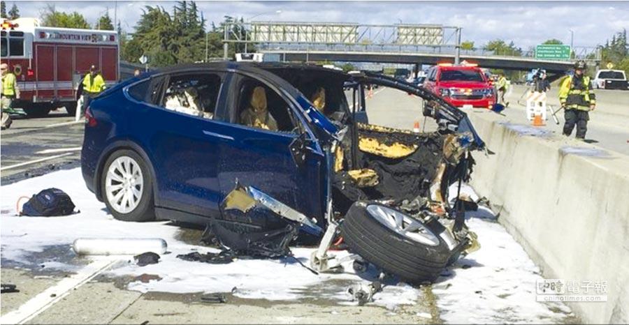 特斯拉Model X日前發生致死車禍。圖/美聯社