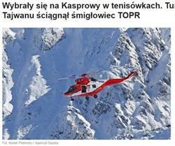 丟臉!2台女穿球鞋登波蘭雪山受困 Call直昇機救下山