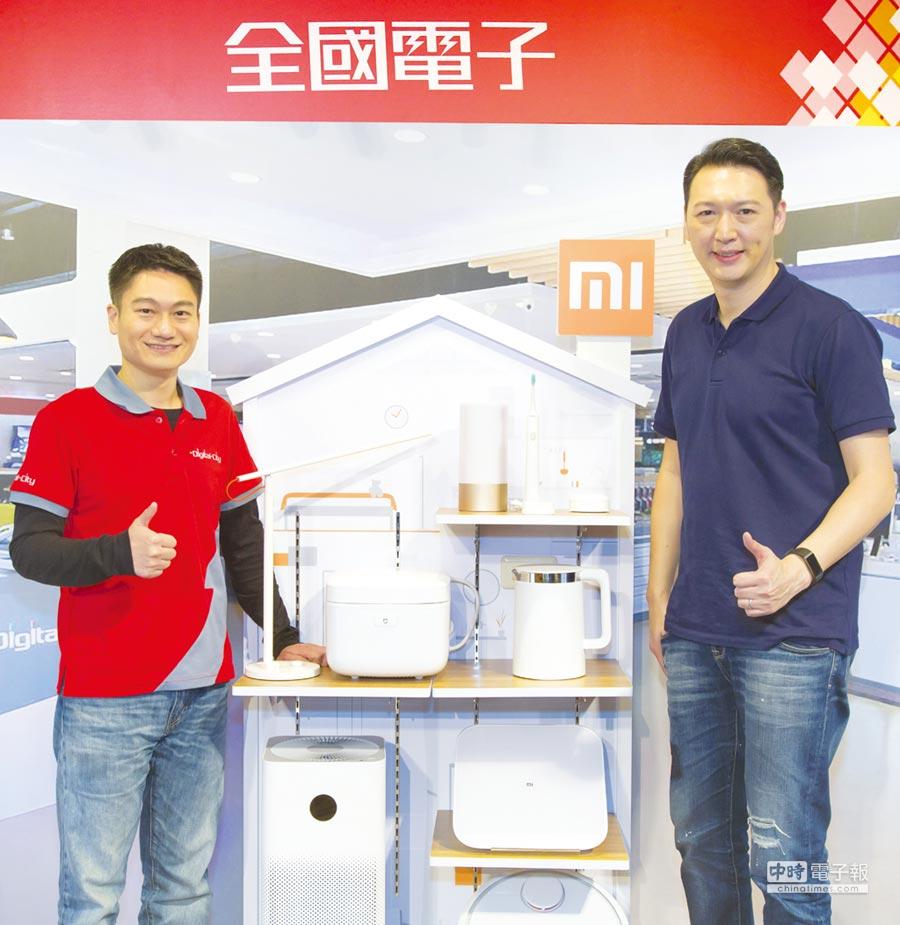 全國電子首場米粉節即將登場,全國電子總經理林政勳(左)、小米台灣總經理李佳峰(右)為活動熱身。圖/全國電子提供