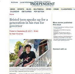 13歲男孩角逐佛蒙特州長初選 政見主打槍枝管制