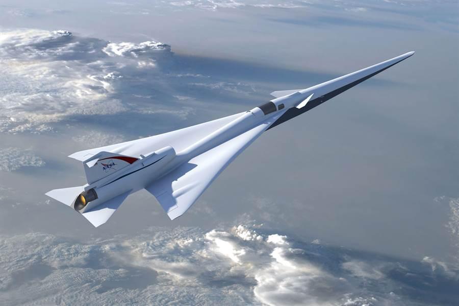 NASA委託洛馬打造的低噪音超音速客機示意圖。(NASA/ Lockheed Martin)
