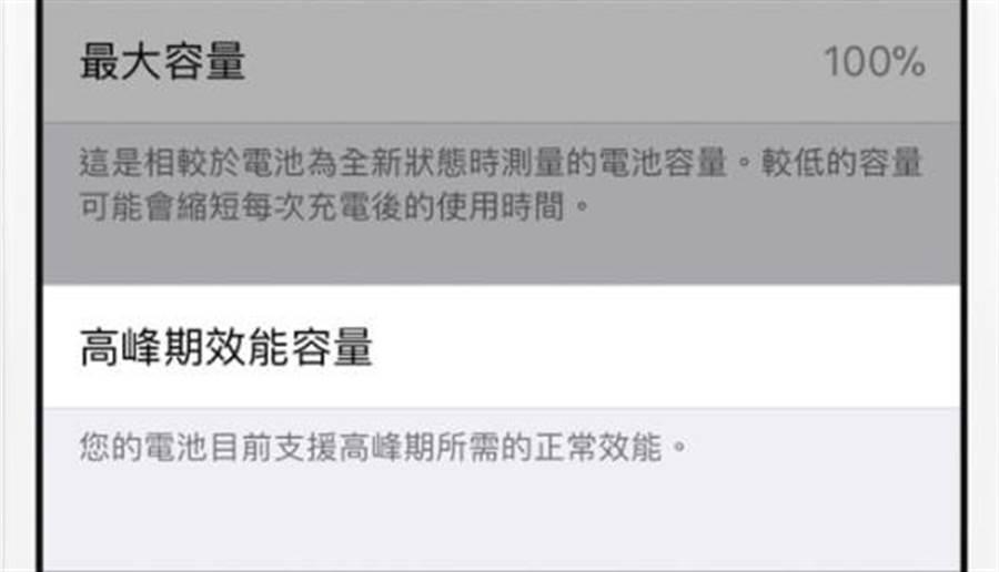 電池健康情況下,高峰期效能容量(效能管理)功能不會開啟。在升級iOS 11.3之後,也會處於此狀態。(圖/翻攝蘋果官網)