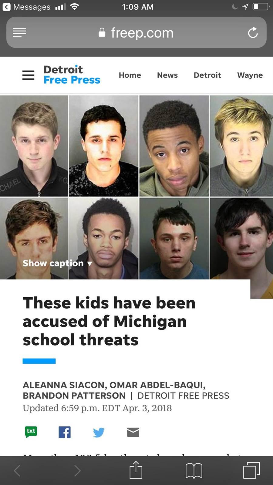 密西根州已有上百件年輕學生因為恐怖威脅被捕。(翻攝自Detroit Free Press)