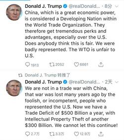 發推喊冤 川普:美國在WTO遭不平待遇