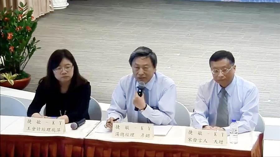 捷敏總經理湯彥鏘(中)、發言人宋天增(右)、會計經理王瑞萍(左)。(翻攝直播畫面)