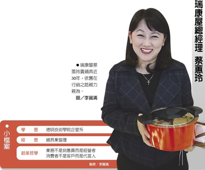 瑞康屋總經理 蔡蕙玲 小檔案 瑞康屋蔡蕙玲賣鍋具近30年,依舊在行銷之路親力親為。圖/李麗滿