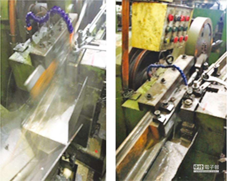 圖為扣件工廠使用前跟使用後,產生油霧之環境比較;左為Before工廠環境油霧密布、右為After乾淨環保生產環境。圖/金屬中心提供
