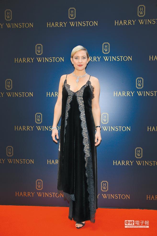凱特哈德森挺孕肚出席Harry Winston香港新店開幕剪綵活動。(陶福媛攝)