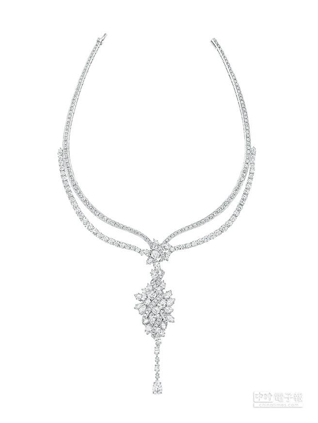 海瑞溫斯頓Secret Cluster鑽石項鍊,約5140萬元。(Harry Winston提供)