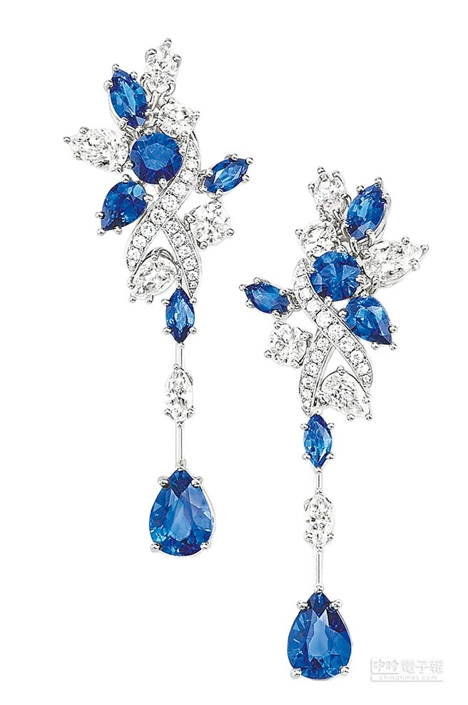 海瑞溫斯頓綺隱Secret Cluster系列藍寶石鑽石耳環。(Harry Winston提供)