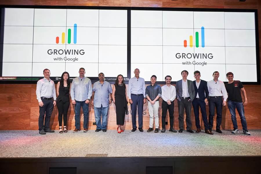 Growing with Google 亞太區媒體活動的講者合影。正中間為Google 亞太區總裁 Karim Temasamani 。(圖/Google提供)