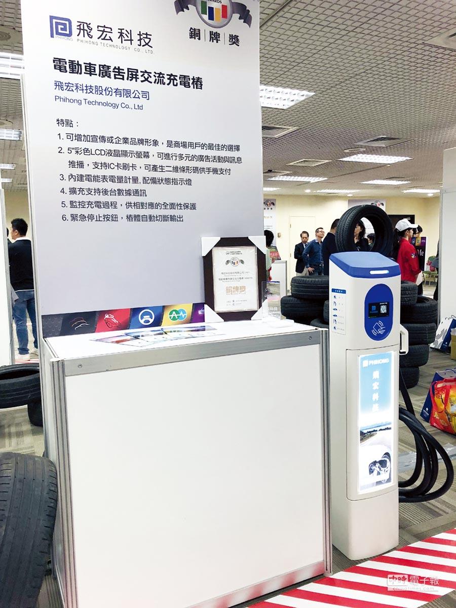 飛宏科技成功研發出高效節能的電動車充電解決方案。圖/業者提供