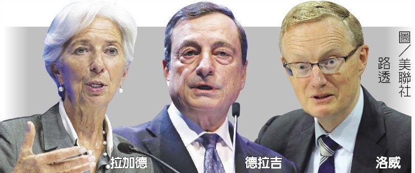 IMF總裁拉加德(左)、歐洲央行(ECB)總裁德拉吉(中)、澳洲央行總裁洛威(右)