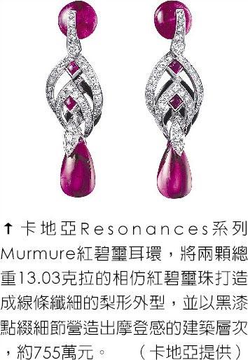 卡地亞Resonances系列Murmure紅碧璽耳環,將兩顆總重13.03克拉的相仿紅碧璽珠打造成線條纖細的梨形外型,並以黑漆點綴細節營造出摩登感的建築層次,約755萬元。(卡地亞提供)